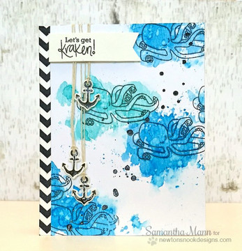 Kraken Friendship Card | Message In A Bottle Stamp Set ©2015 Newton's Nook Designs