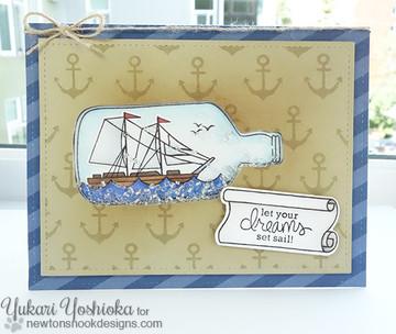 Nautical Friendship Card | Message In A Bottle Stamp Set ©2015 Newton's Nook Designs