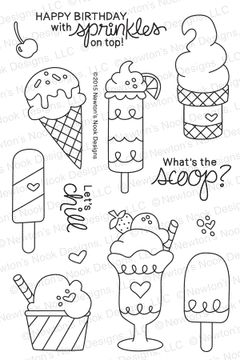 Summer Scoops | 4x6 Photopolymer Stamp Set | ©2015 Newton's Nook Designs