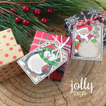 Santa and Penguin Gift Tags | Jolly Tags | 4x6 Photopolymer Stamp Set | ©2015 Newton's Nook Designs
