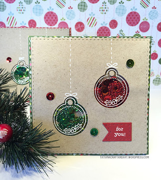Shaker Ornament Card | Jolly Tags | 4x6 Photopolymer Stamp Set | ©2015 Newton's Nook Designs