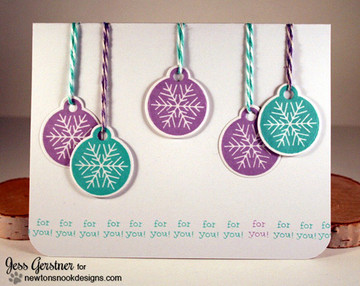 Ornament Card | Jolly Tags | 4x6 Photopolymer Stamp Set | ©2015 Newton's Nook Designs