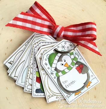 Set of Holiday Tags | Jolly Tags | 4x6 Photopolymer Stamp Set | ©2015 Newton's Nook Designs