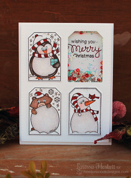 Shaker Tag Card | Jolly Tags | 4x6 Photopolymer Stamp Set | ©2015 Newton's Nook Designs