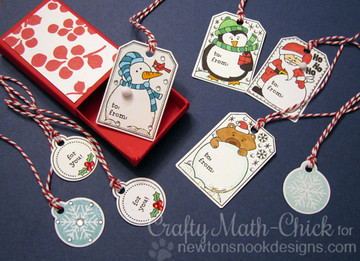 Set of Holiday Tags |Jolly Tags | 4x6 Photopolymer Stamp Set | ©2015 Newton's Nook Designs