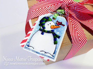 Snowman Tag | Jolly Tags | 4x6 Photopolymer Stamp Set |  ©2015Newton's Nook Designs