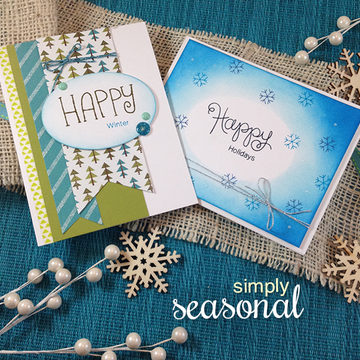 Happy Winter Cards | Simply Seasonal | 4x6 Photopolymer Stamp Set | ©2015 Newton's Nook Designs