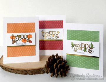 Happy Holidays Cards | Simply Seasonal | 4x6 Photopolymer Stamp Set | ©2015 Newton's Nook Designs