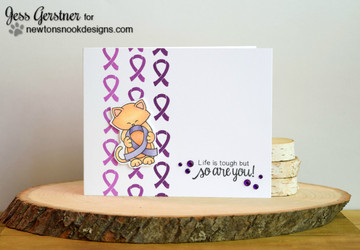 Purple Ribbon card using Newton's Support Stamp Set ©2016 Newton's Nook Designs