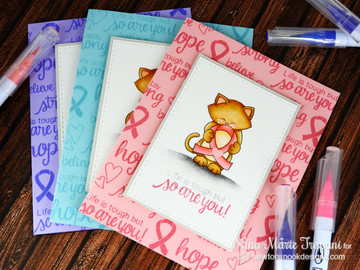 Ribbon cards using Newton's Support Stamp Set ©2016 Newton's Nook Designs