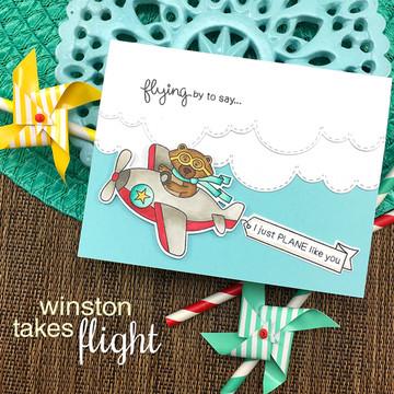 Winston Takes Flight  Stamp Set ©2017 Newton's Nook Designs