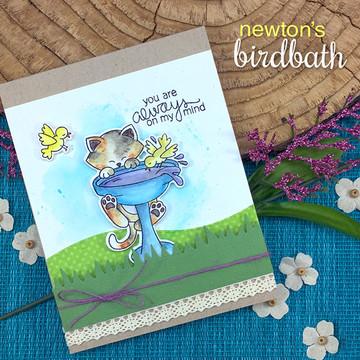 Newton's Birdbath Stamp Set ©2017 Newton's Nook Designs