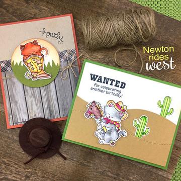 Newton Rides West Stamp Set ©2017 Newton's Nook Designs