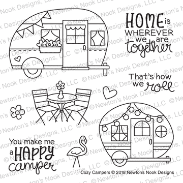 Cozy Campers Stamp Set ©2018 Newton's Nook Designs
