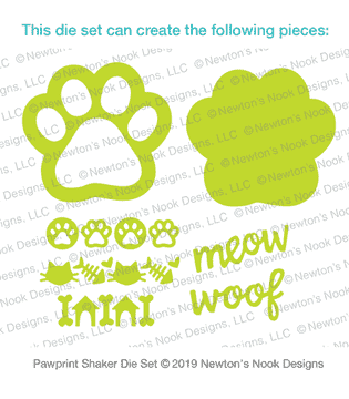 Pawprint Shaker Die Set ©2019 Newton's Nook Designs