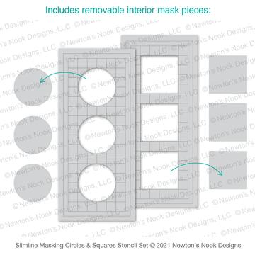Slimline Masking Circles & Squares Stencil Set ©2021 Newton's Nook Designs