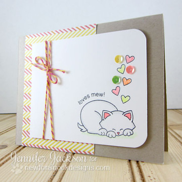 Loves Mew Cat Card | Newton's Antics Stamp set ©2013 Newton's Nook Designs
