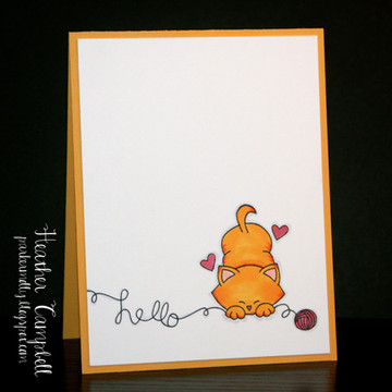 Hello Cat Card | Newton's Antics Stamp set ©2013 Newton's Nook Designs