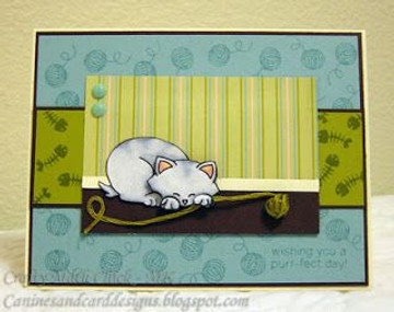 Cat Card with Yarn | Newton's Antics Stamp set ©2013 Newton's Nook Designs
