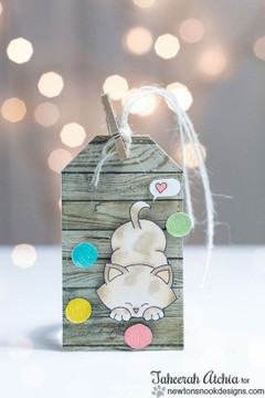 Cute Cat tag with Yarn Balls | Newton's Antics Stamp set ©2013 Newton's Nook Designs