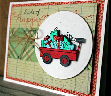 Wagon of gifts Card | Wagon of Wishes Stamp Set © 2013 Newton's Nook Designs.