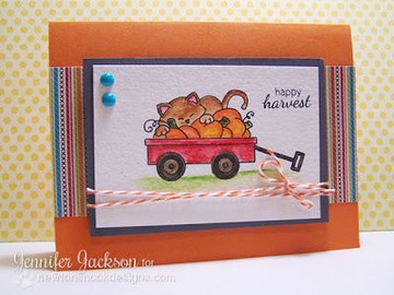 Happy Harvest Fall Wagon Card | Wagon of Wishes Stamp Set © 2013 Newton's Nook Designs.