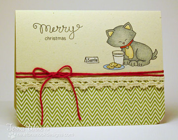 Cat with Cookies and Milk Card | Newton's Holiday Mischief Stamp Set ©2013 Newton's Nook Designs