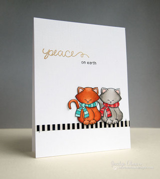 Two Cats in Scarves Card  | Newton's Holiday Mischief Stamp Set ©2013 Newton's Nook Designs