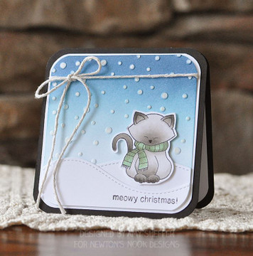 Kitty in christmas Scarf | Newton's Holiday Mischief Stamp Set ©2013 Newton's Nook Designs