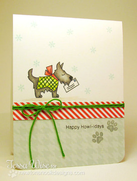 Dog Mailing letter to Santa Card using Canine Christmas Stamp Set ©2013 Newton's Nook Designs