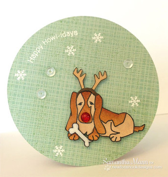 Basset Hound in Antlers Card using Canine Christmas Stamp Set ©2013 Newton's Nook Designs
