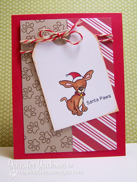 Dog in Santa Hat Card using Canine Christmas Stamp Set ©2013 Newton's Nook Designs