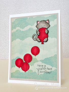 Cat Birthday card  | Newton's Birthday Bash Cat stamp set ©2014 Newton's Nook Designs.