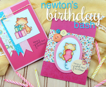 Cat Birthday cards  | Newton's Birthday Bash Cat stamp set ©2014 Newton's Nook Designs.