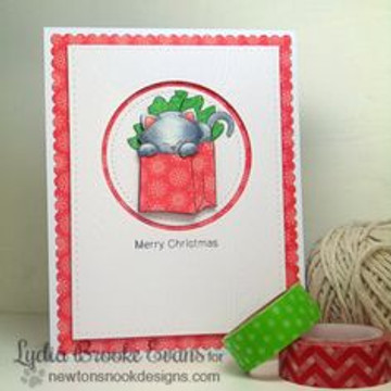 Cat Christmas card | Newton's Birthday Bash Cat stamp set ©2014 Newton's Nook Designs.