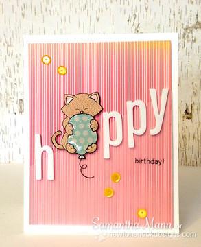 Cat Birthday card | Newton's Birthday Bash Cat stamp set ©2014 Newton's Nook Designs.