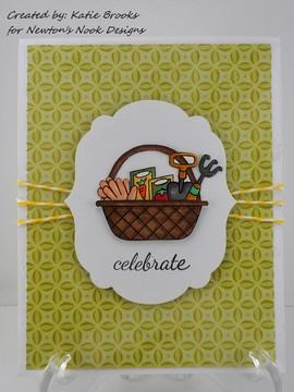 Celebration Garden Basket Card | Basket of Wishes stamp set ©2014 Newton's Nook Designs