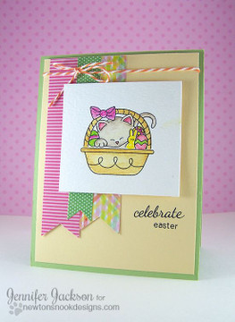 Celebrate Eater Basket Card | Basket of Wishes stamp set ©2014 Newton's Nook Designs