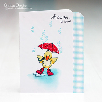 Showers of Love Duck with Umbrella Card | Spring Showers stamp set ©2014 Newton's Nook Designs.