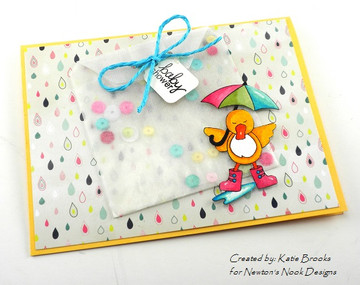 Baby Shower Duck with Umbrella Card | Spring Showers stamp set ©2014 Newton's Nook Designs.