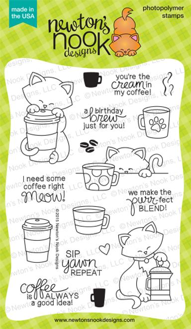 Newton Loves Coffee | 4x6 Photopolymer Stamp Set | ©2015 Newton's Nook Designs