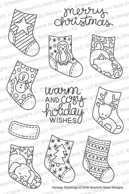 Holiday Stockings Stamp Set ©2018 Newton's Nook Designs