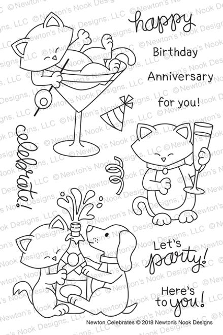 Newton Celebrates Stamp Set ©2018 Newton's Nook Designs