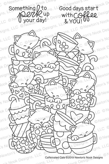 Caffeinated Cats Stamp Set ©2019 Newton's Nook Designs