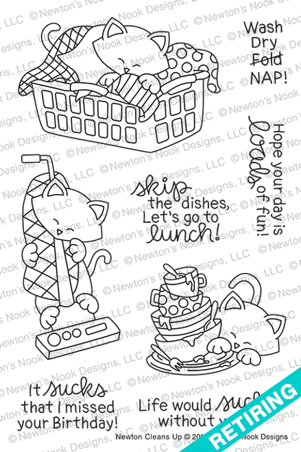 Newton Cleans Up Stamp Set ©2019 Newton's Nook Designs