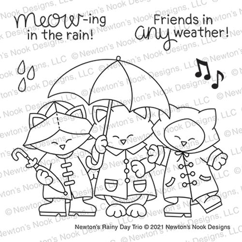 Newton's Rainy Day Trio Stamp Set ©2021 Newton's Nook Designs