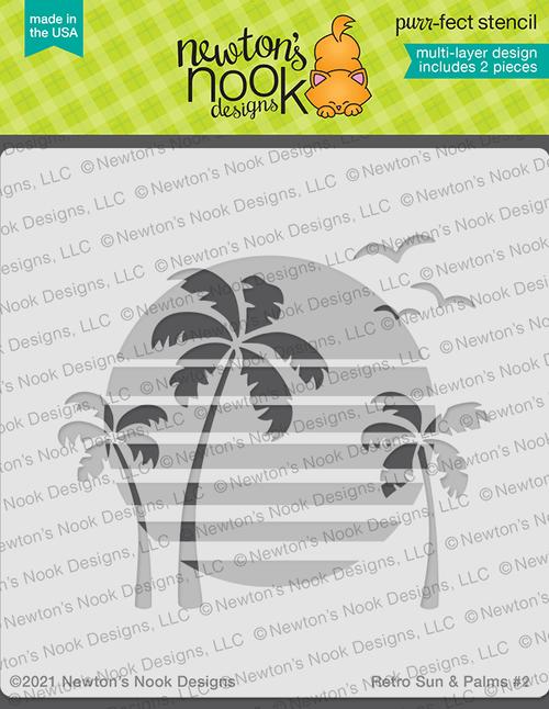 Retro Sun & Palms Stencil Set ©2021 Newton's Nook Designs