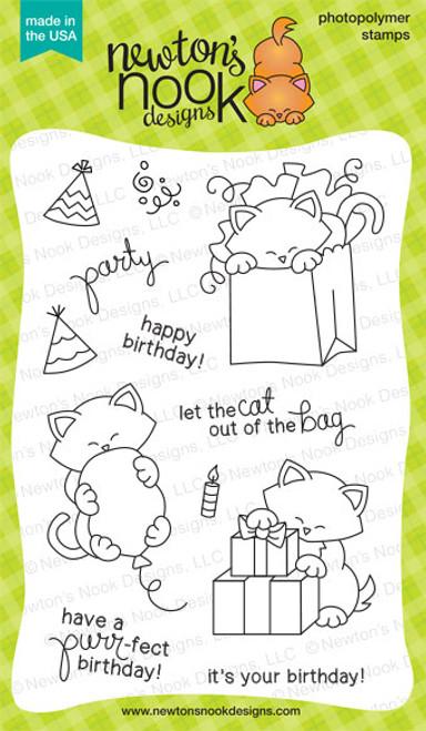 Newton's Birthday Bash - 4 x 6 photopolymer cat stamp set ©2014 Newton's Nook Designs.