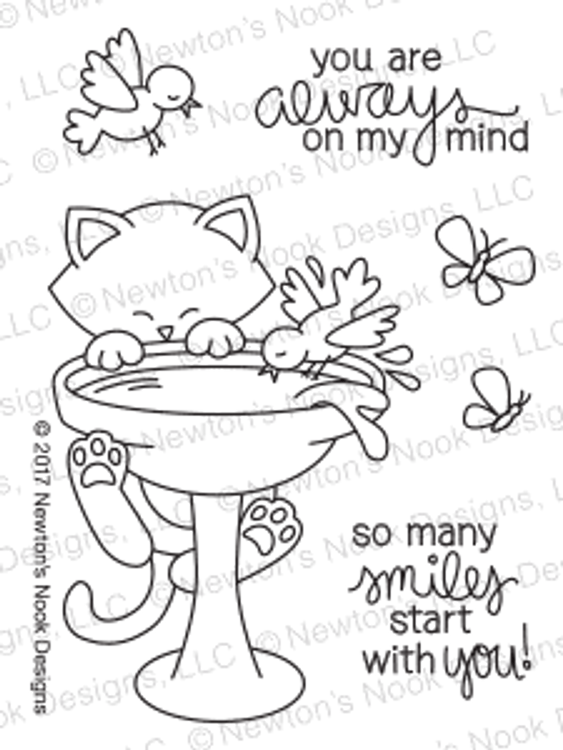 Newton's Birdbath Stamp Set ©2017 Newton's Nook Designs