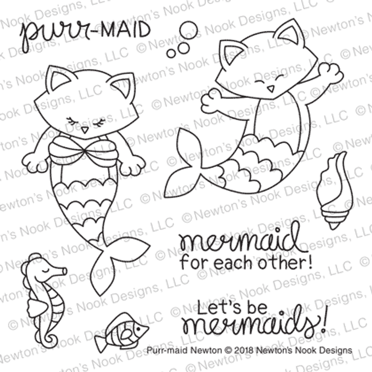 Purr-maid Newton Stamp Set ©2018 Newton's Nook Designs
